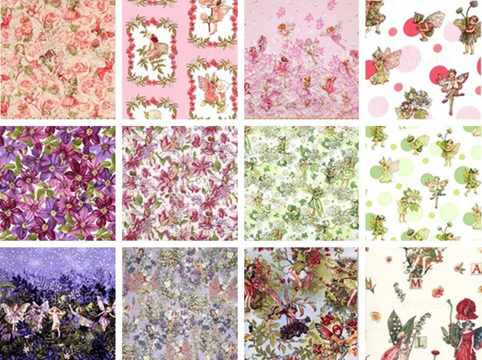 Fat Quarter Rose Sweet Garden Flower Fairy Quilting Sewing Cotton Fabric