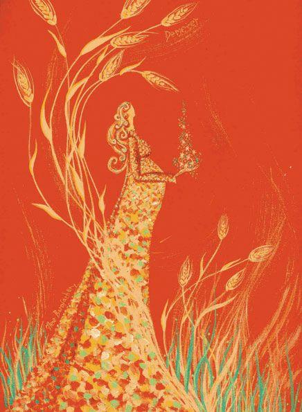 Demeter - Greek goddess of grain, fertility, childbirth, the 4 seasons, agriculture, flora & the harvest. (image by Liz Bussey)