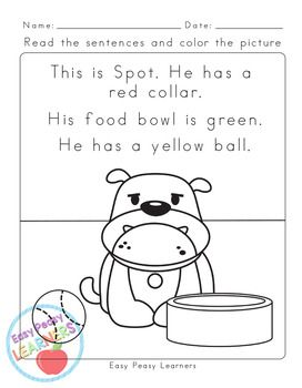 Animals Read and Color Reading Comprehension Worksheets - Grade 1 ...