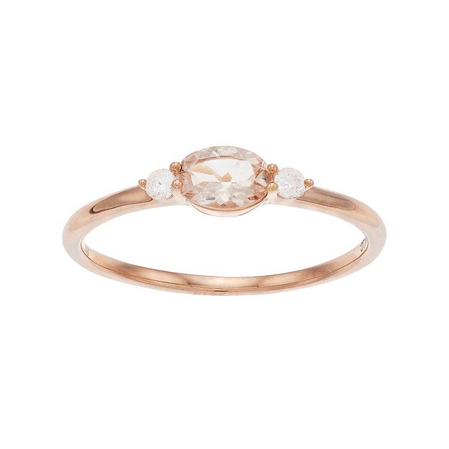 a2c98d8639d LC Lauren Conrad 10k Rose Gold Morganite & Diamond Accent Oval Ring ...