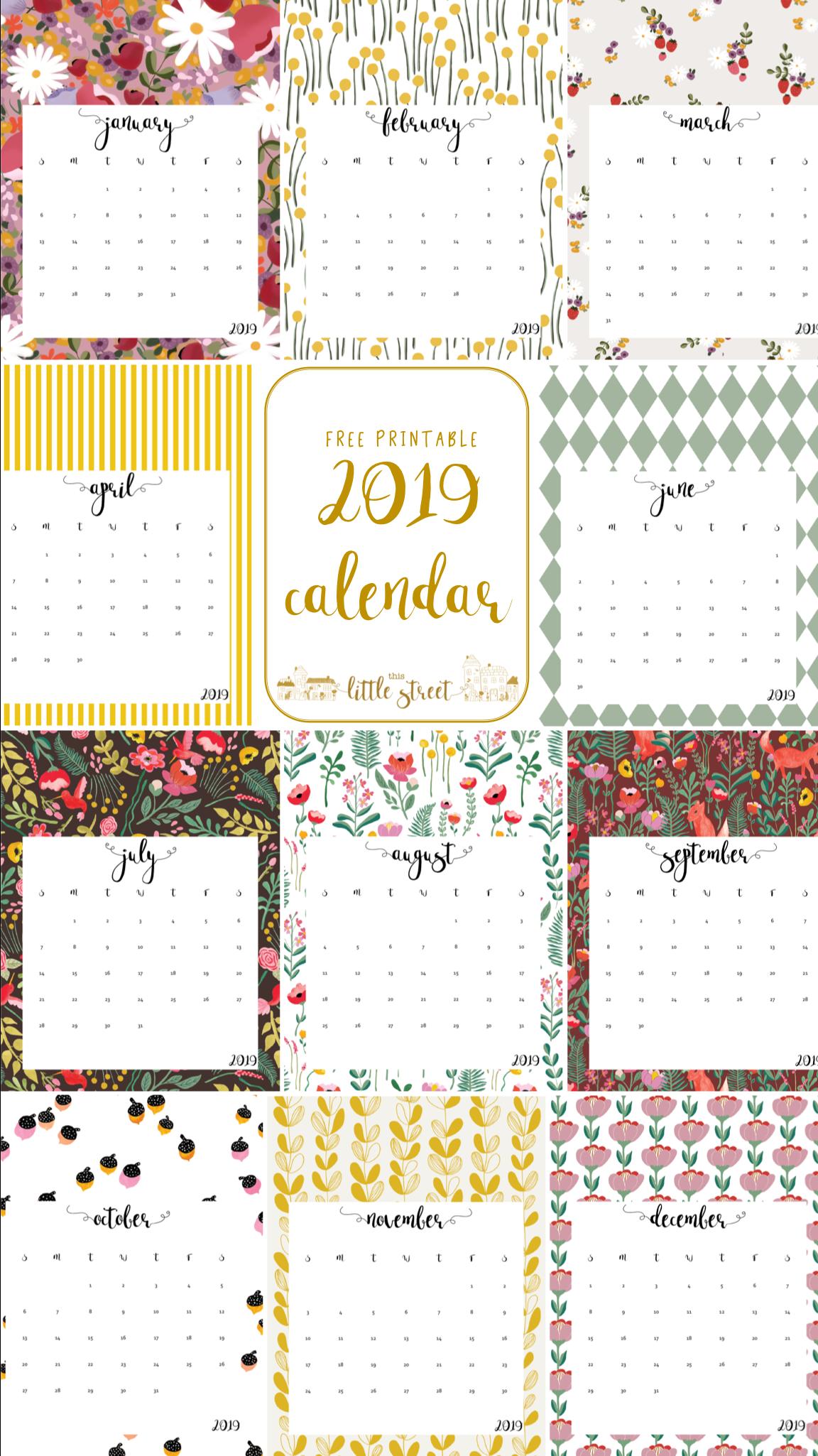 2019 Calendar Free Printable Free Printable Calendar Calendar