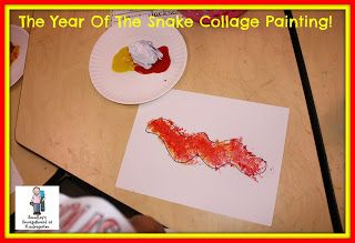 Snake collage!  Paper wads, paint and glitter!