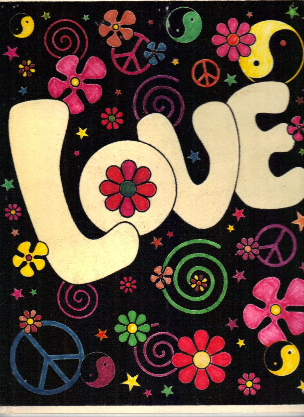 We used to write love and peace on our notebooks in this kind of ...