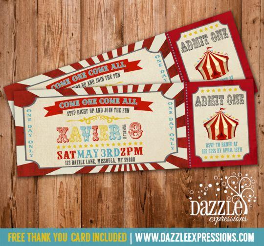Printable Vintage Circus or Carnival Birthday Ticket Invitation – Carnival Ticket Birthday Invitations