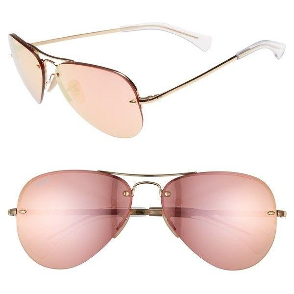 f21e1cde7ea Women s Ray-Ban Highstreet 59Mm Semi Rimless Aviator Sunglasses featuring  polyvore