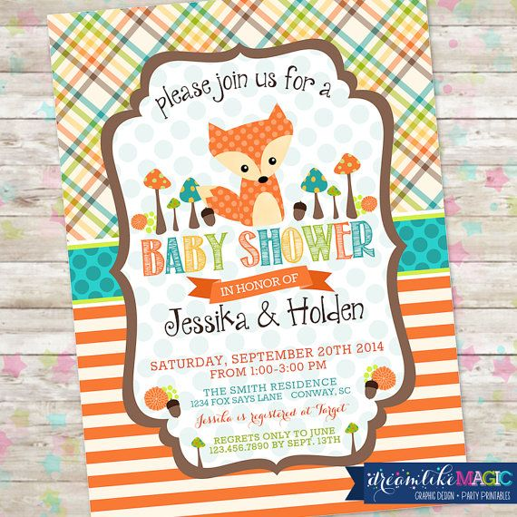 Fox Baby Shower Woodland Baby Shower Boy Baby Shower Plaid And