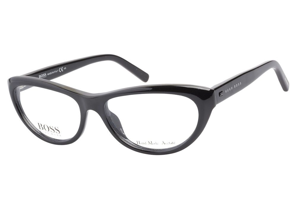 fc3705e5f1 Hugo Boss HB0470 807 Black eyeglasses have a vintage cateye shape. The  glossy black frame is manufactured in hand made acetate to provide the  highest ...