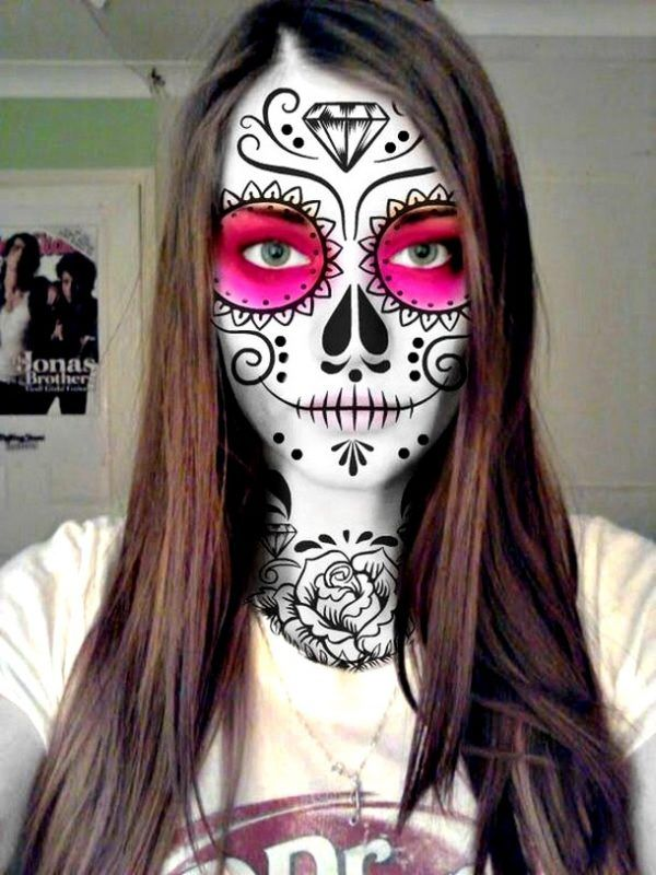Easy Mexican Sugar Skull Makeup For Day Of The Dead Mejor Maquillaje Para Halloween Maquillaje De Muerto Maquillaje Sugar Skull