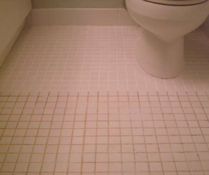 Cleaning Bathroom Tile mix 7 cups water, 1/2 cup baking soda, 1/3 cup lemon juice and 1/4