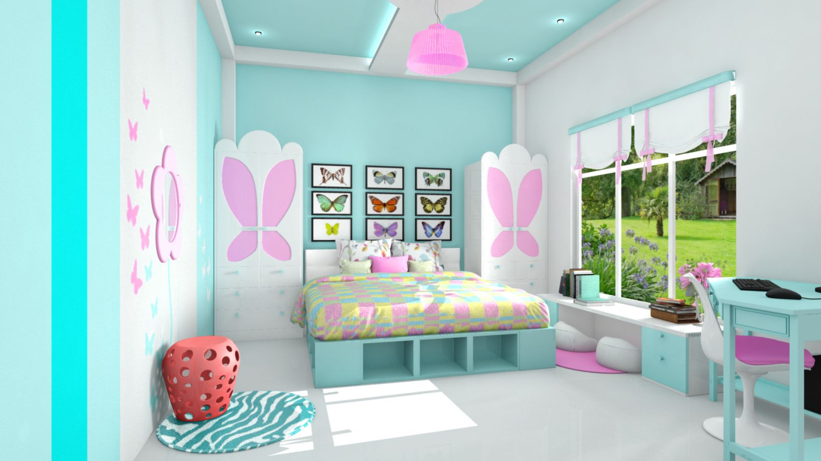 Ten Year Old Girl Bedroom Look With The Butterfly Look.