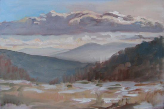 Greylock from the Taconic Trail Summit. Oil painting by Peter Barnett.