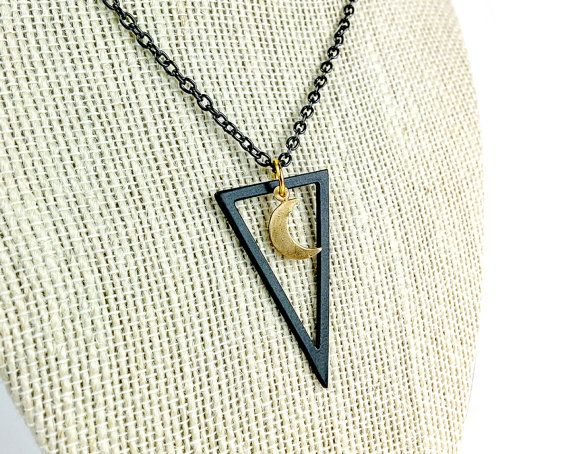 Black Triangle With Golden Crescent Moon by WildAutumnJewelry