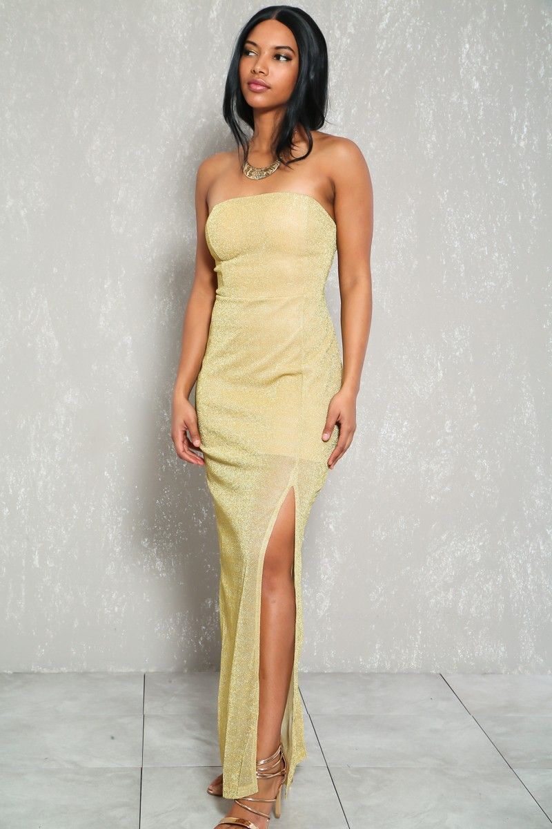 Buy sexy gold shimmer strapless maxi dress with discount price and