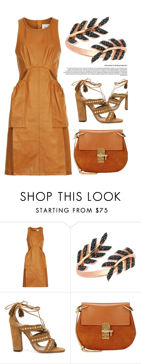 """Black Leaves Ring"" by amorium ❤ liked on Polyvore featuring 3.1 Phillip Lim, Aquazzura, Chloé and brown"