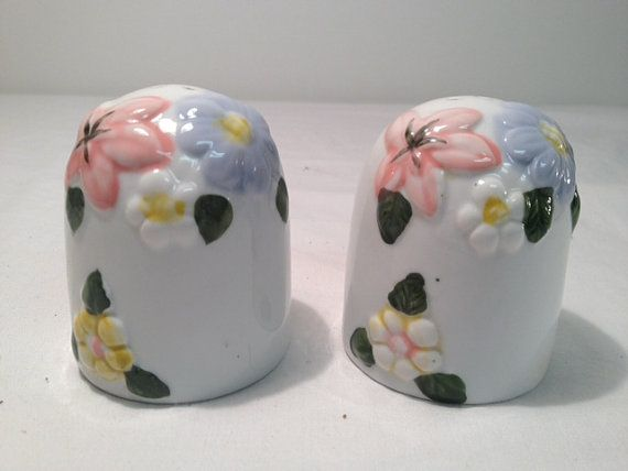 White Salt and Pepper Shakers with Flowers by TheCharmingAttic, $5.50