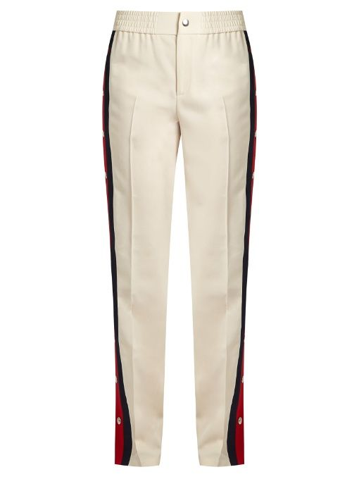 dd5390092cd Gucci Striped-side wool and silk-blend trousers