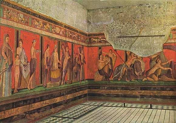 2nd style - Dionysiac Mystery Frieze - figures act out rituals and rites on a green ledge that provides the illusion of a stage. Also called illusionary style.