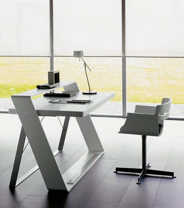 Modern minimalist home office with bulego desk #homedecor : modern-office-table - designwebi.com