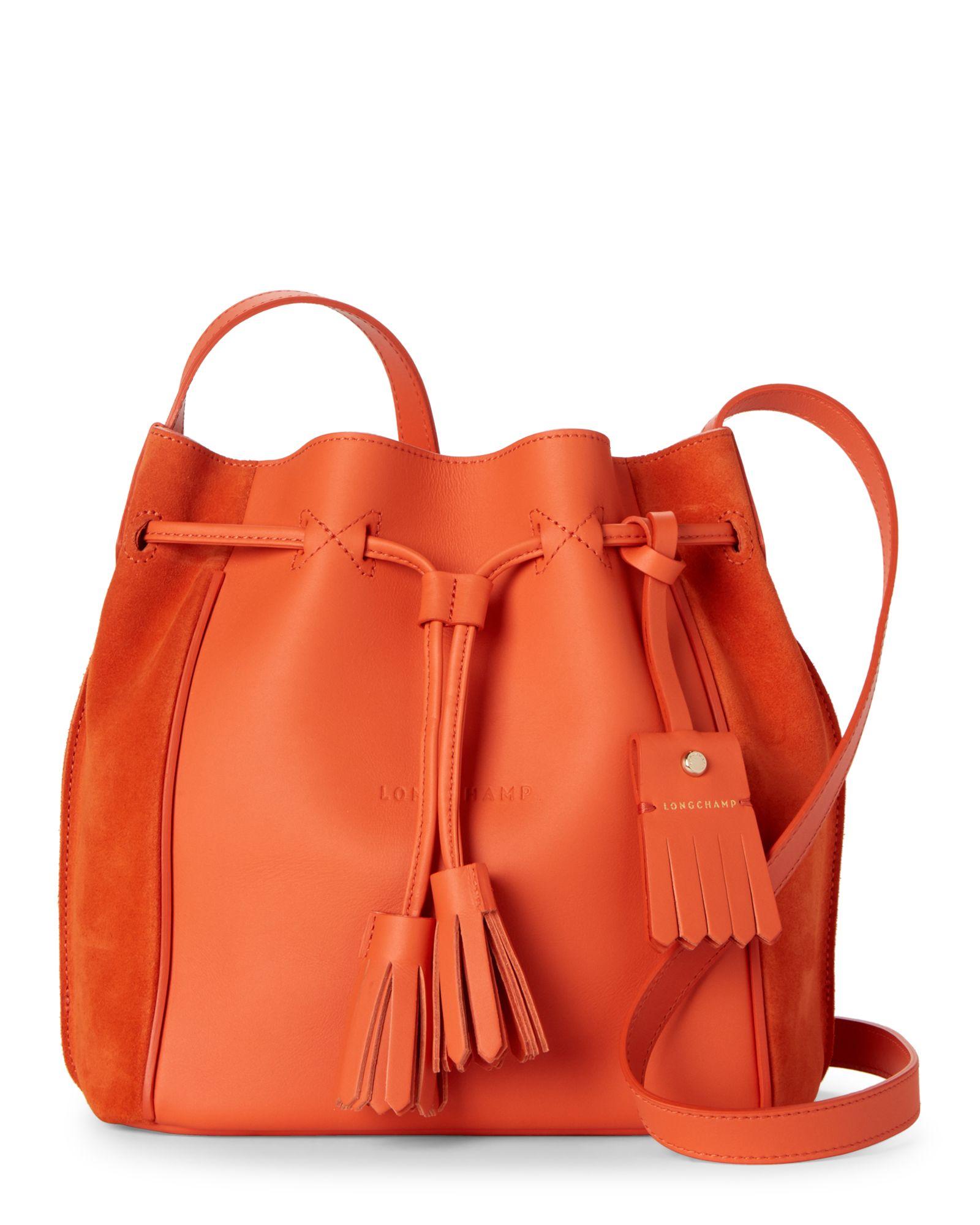 Longchamp Orange Penelope Fantaisie Bucket Bag | Bucket bag, Bags ...