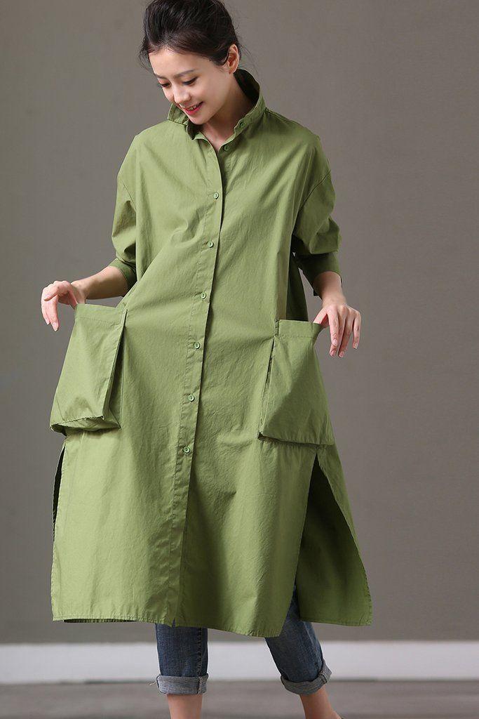 Big Pocket Green Casual Loose Long Cotton Shirt Dresses Women Tops ...