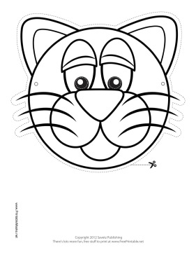 Cat Mask to Color Printable Mask, free to download and print