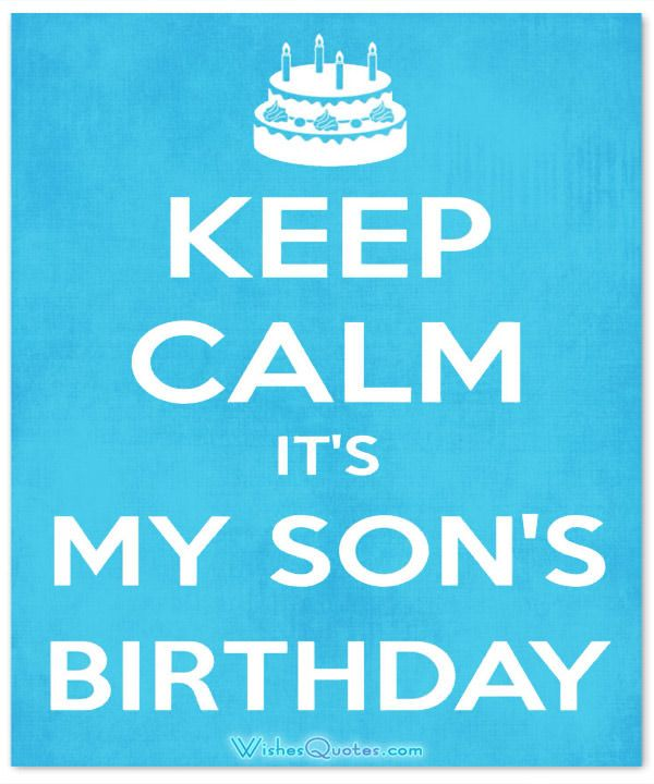 Card Keep Calm Its My Son Birthday
