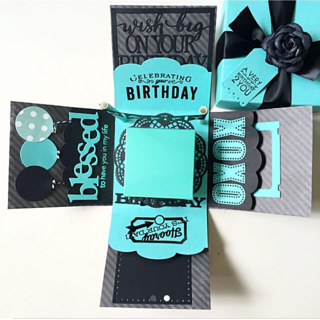 Happy Birthday Explosion Box Card In Teal And Black