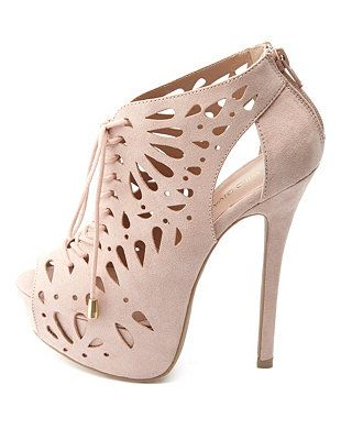 cf7706476d27 Perforated Cut-Out Peep Toe Lace-Up Booties  Charlotte Russe   UNIQUE WOMENS FASHION