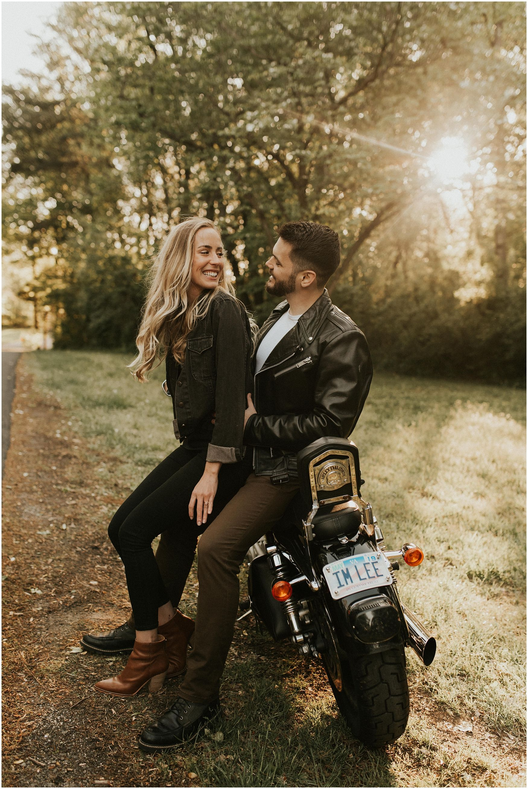 Edgy Motorcycle Couples Session Motorcycle Engagement Photos Motorcycle Couple Couples Engagement Photos