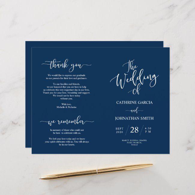 Wedding Ceremony Program, Elegant Script Navy Blue