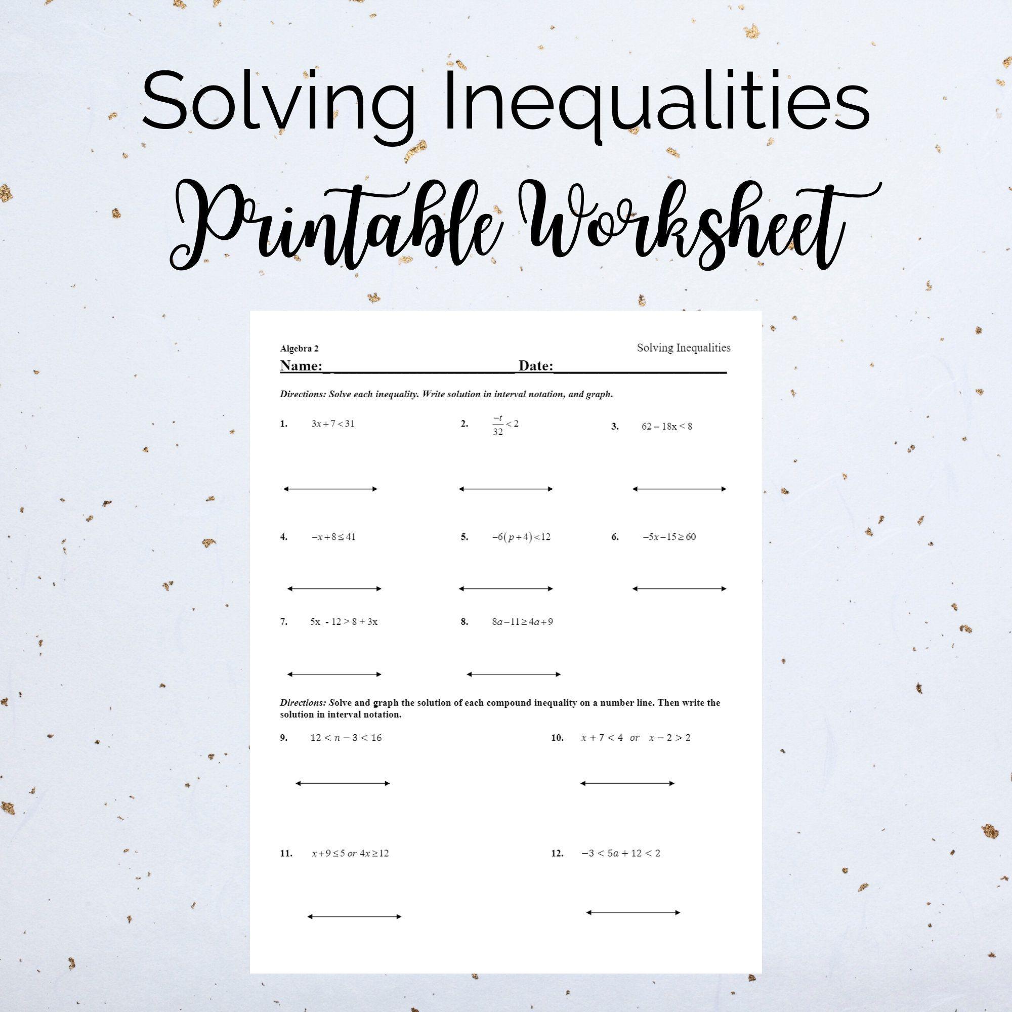 Solving Inequalities Printable Exercise Worksheet Grade 7 Etsy In 2021 Solving Inequalities Graphing Linear Equations Homeschool Worksheets