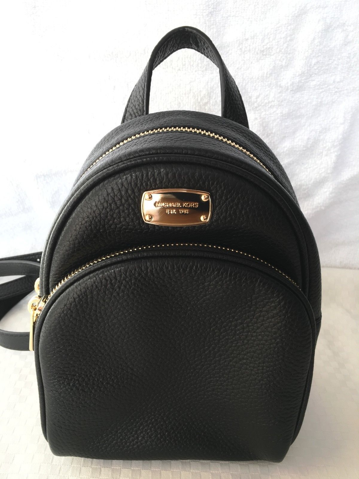 ce69f892b189 ... netherlands nwt michael kors abbey xs mini backpack black pebble  leather mk bag authentic 1811c 45aba