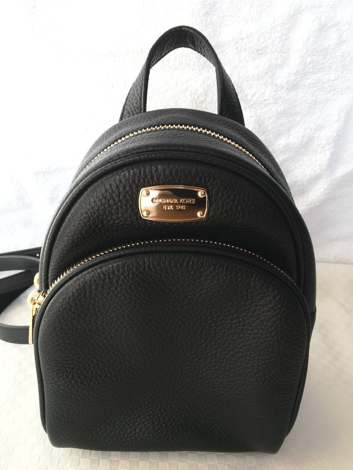 785ba87b6f4b9f ... netherlands nwt michael kors abbey xs mini backpack black pebble  leather mk bag authentic 1811c 45aba