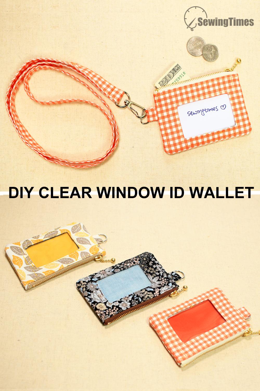 Diy Clear Window Id Wallet In 2021 Id Wallet Diy Keychain Card Holder Diy