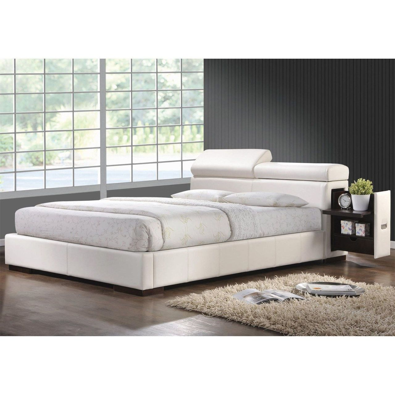 Coaster Maxine Ultra Modern Upholstered Bed In White Queen