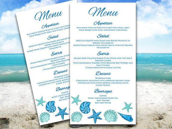 Seashells Beach Wedding Menu Card Word Template Blue Lagoon Teal - wedding menu template