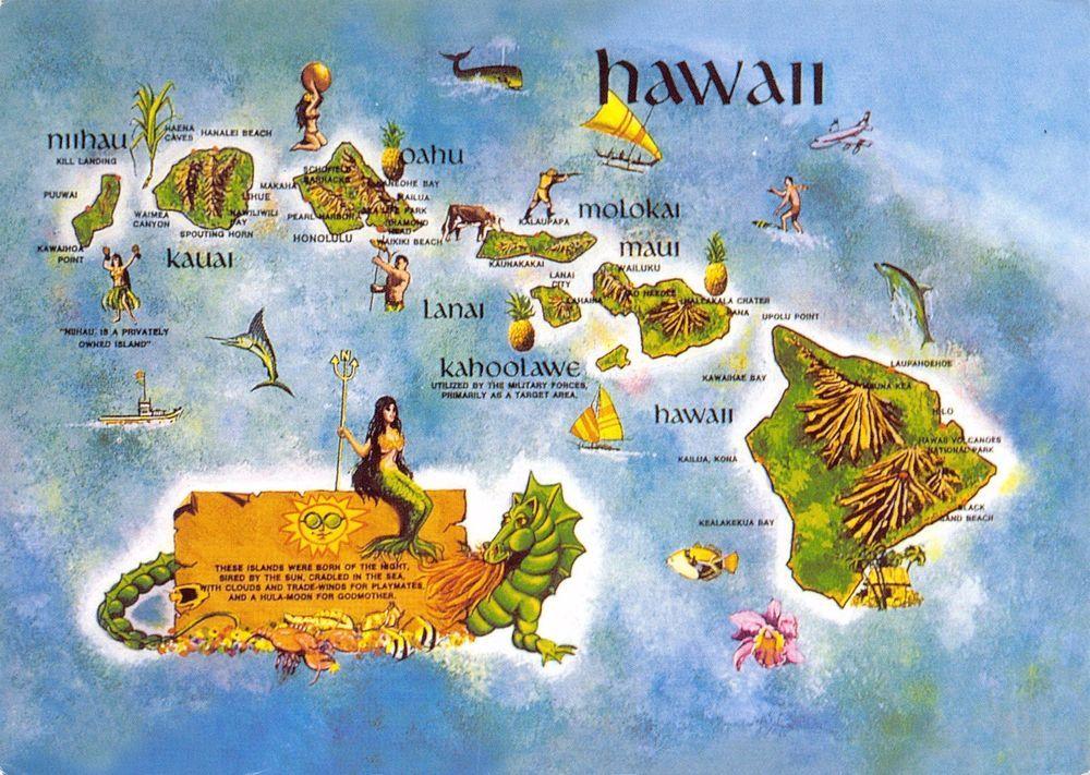 Postcard Map HAWAII, Memories of Hawaii, USA United States #H ...