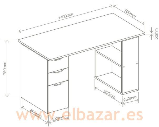 Mesa escritorio oficina cajes blanca con cajones y for Medidas de un escritorio de oficina