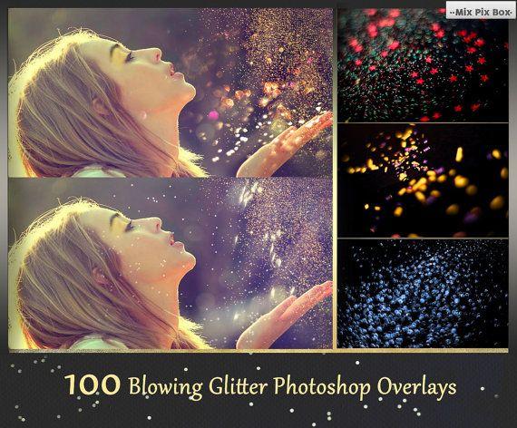 Glitter Effect Photo Overlays, Blowing Glitter Photoshop
