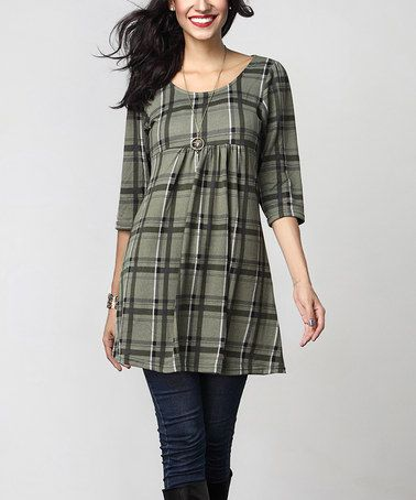 7f2e4e6f1f3c Loving this Olive Plaid Empire-Waist Tunic Dress on #zulily! #zulilyfinds. Another  great find ...