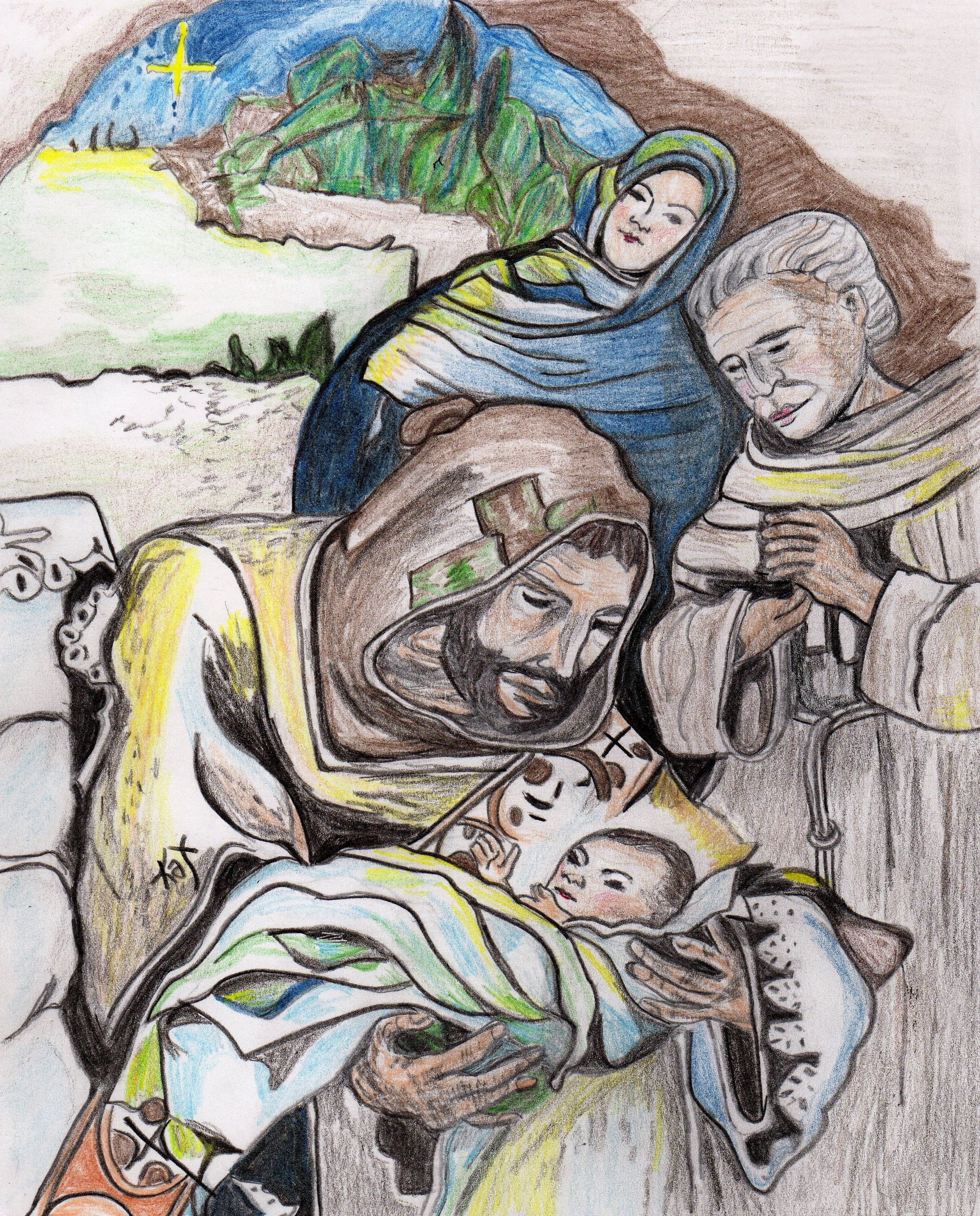 St. Francis of Assisi with the Holy Family Sketch by Kathy Ellinger, OFS