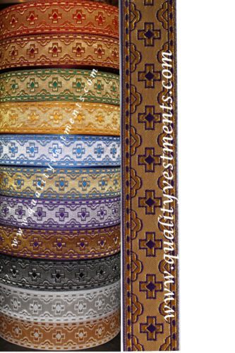 Fabric For Orthodox Vestment Liturgical Golden Fabric With Burgundy Cross Detail