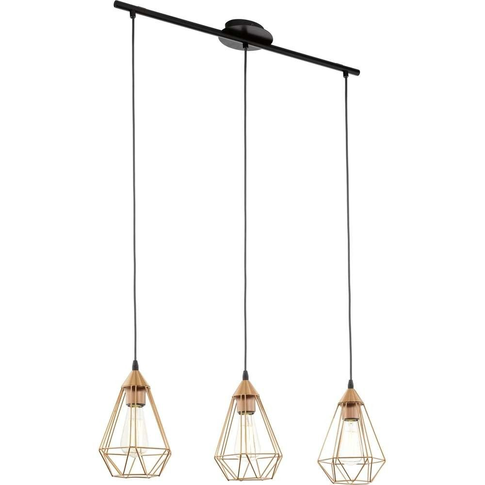 Eglo 94195 Tarbes Vintage Copper Wire Cage 3 Lamp Bar Pendant Light ...