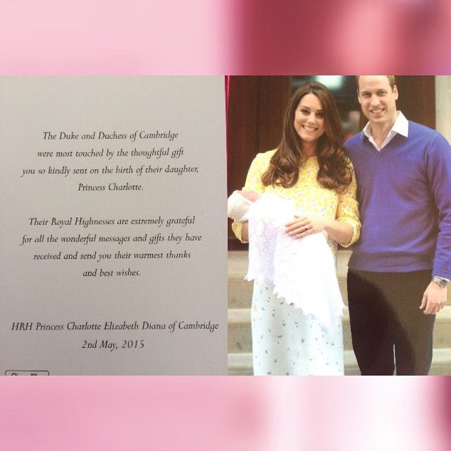 Just got this from Will&Kate! Charlotte is almost 2 months old,aww.  . . Thank you so much, I'm very happy  . . #thecambridges #princewilliam #katemiddleton #princesscharlotte #princegeorge
