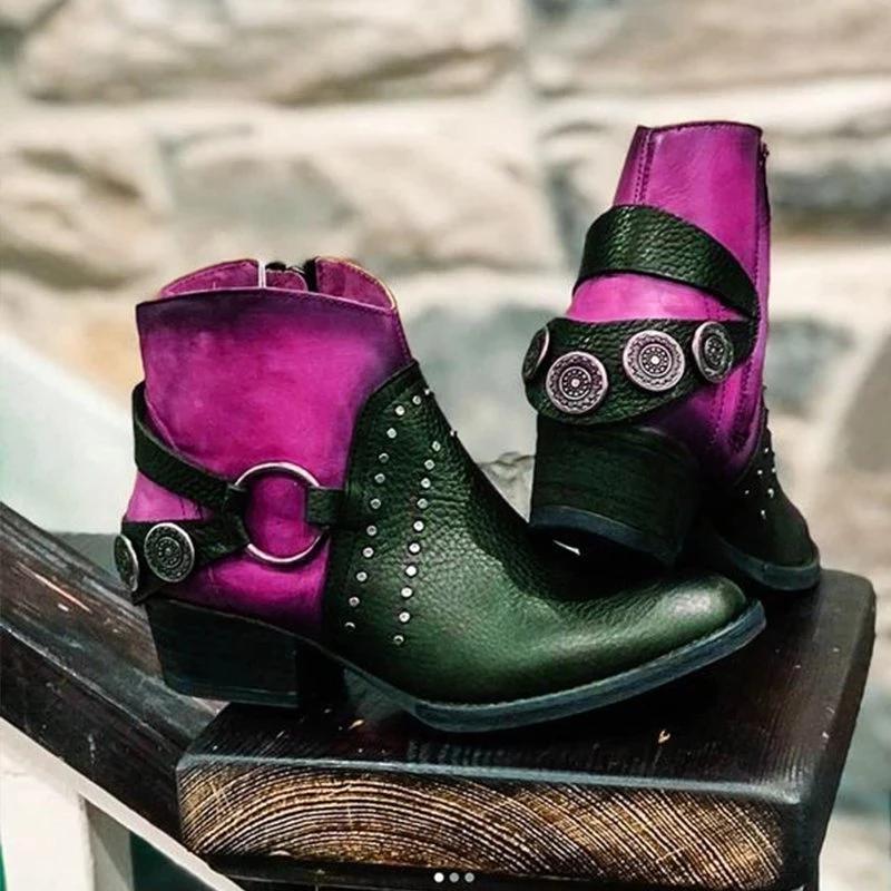 Women's Fashion Color Matching Belt Buckle Decorative Ankle Boots
