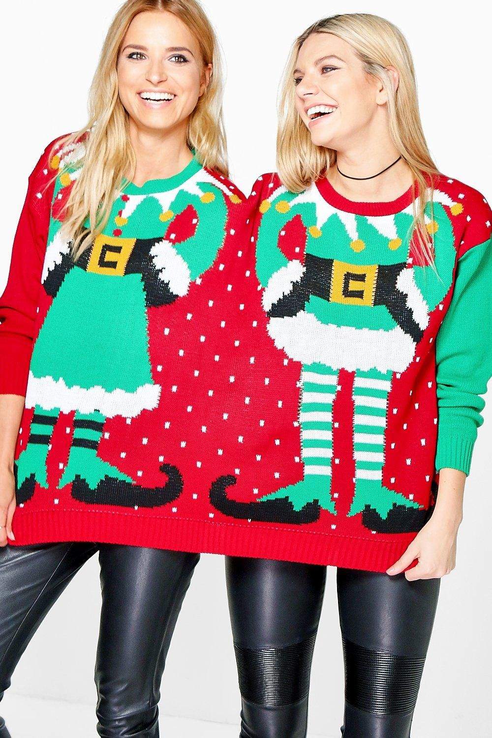 Mr & Mrs Elf Two Person Christmas Jumper Ladies