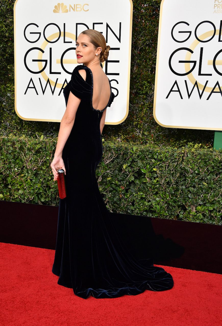 Teresa Palmer stepped out in a custom Giorgio Armani Privé gown at this year's Golden Globes. #ArmaniStars