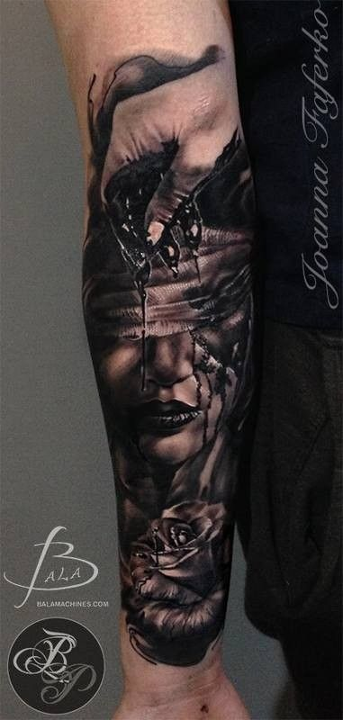 bfd62fcaa Black ink half sleeve tattoo of creepy bloody woman face with hand and rose