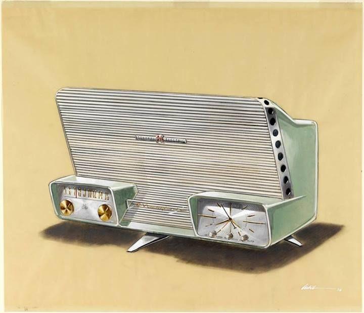 GE Musaphonic Clock, Radio on Legs, 1958