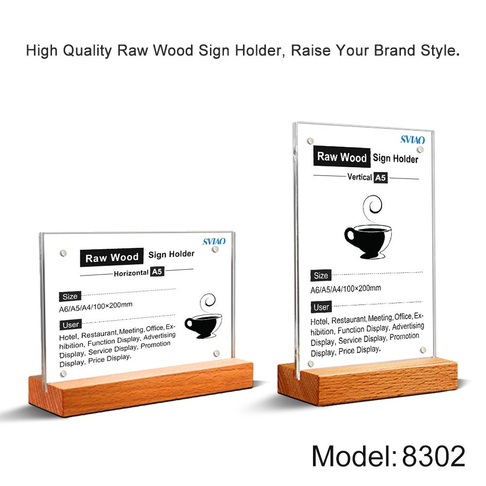 A5 Acrylic Menu Display Stand Sign Holder Table Price Poster Stand